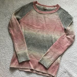 ombré pink and olive sweater